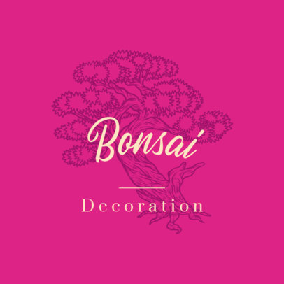 Logo Maker for Decorative House Plants Featuring a Bonsai Graphic 3931h