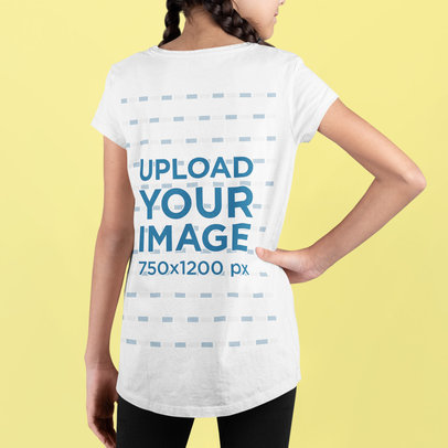 Back-View Tee Mockup Featuring a Girl with Two Braids m726