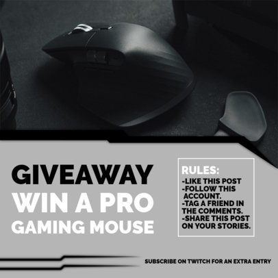 Instagram Post Design Template for a Gaming Mouse Giveaway 3300c-el1