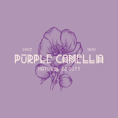 Beauty Logo Generator with a Purple Camellia Graphic 3928d