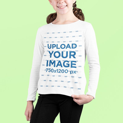 Long Sleeve Tee Mockup Featuring a Smiling Girl Against a Customizable Surface m700