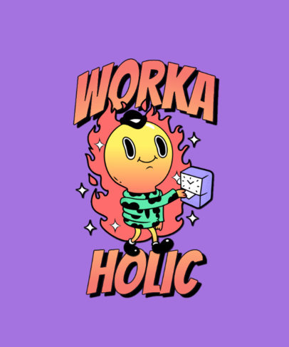 Trippy T-Shirt Design Template with a Workaholic Character 3241d