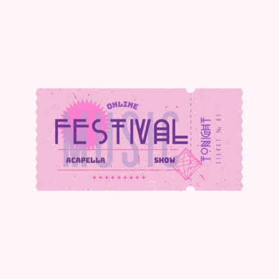 Pop Music Festival Logo Template Featuring a Carnival Ticket Clipart 3937i