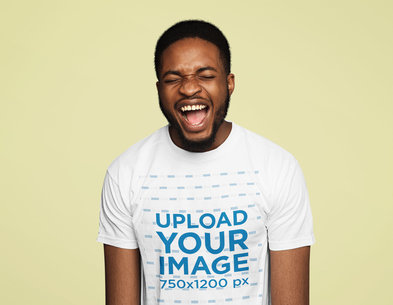 T-Shirt Mockup of a Bearded Man Laughing Out Loud 45707-r-el2