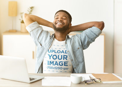 T-Shirt Mockup Featuring a Bearded Man Doing Home Office 45706-r-el2