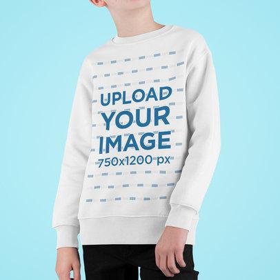 Cropped Face Mockup of a Boy Wearing a Sweatshirt m718