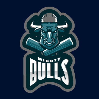 Logo Maker with a Bull Graphic for a Cricket Team 1649h-2881