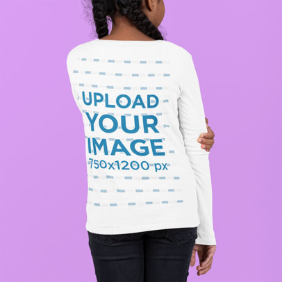 Back View Mockup of a Girl Wearing a Long-Sleeve Tee at a Studio m882