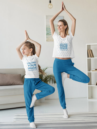 T-Shirt Mockup of Mom and Daughter Doing Yoga Together 45466-r-el2