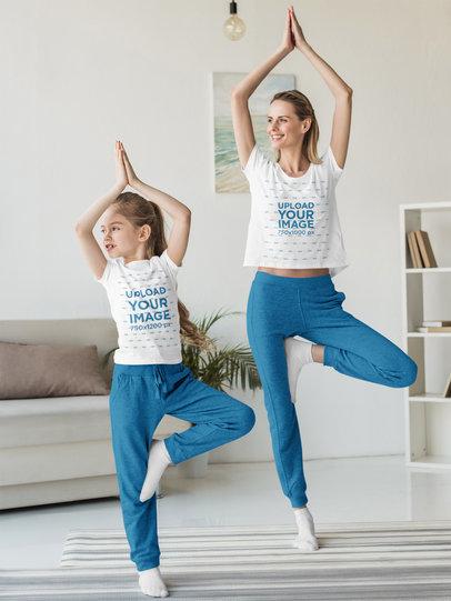 T-Shirt Mockup of Mom and Daughter Doing Yoga Together 45466-r-el2