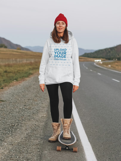 Pullover Hoodie Mockup of a Woman Skating on an Empty Highway 45625-r-el2