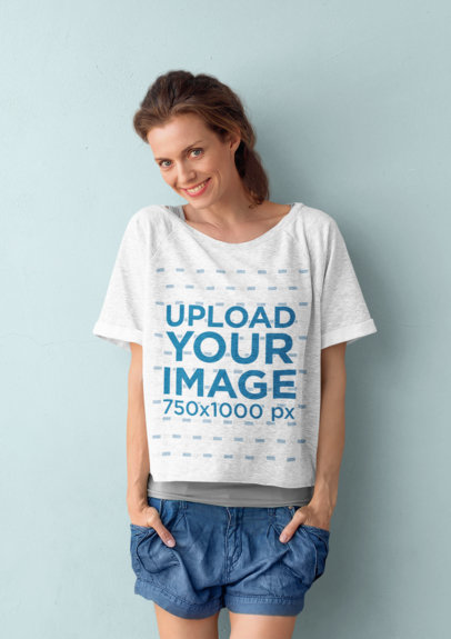 Mockup of a Woman Wearing a Heathered Oversized T-Shirt 45214-r-el2