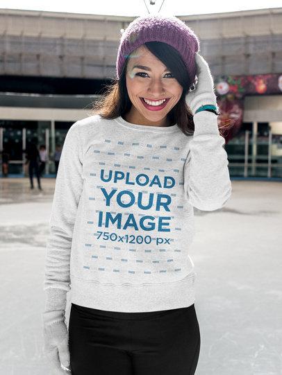 Sweatshirt Mockup of a Happy Woman Ice Skating 13252a