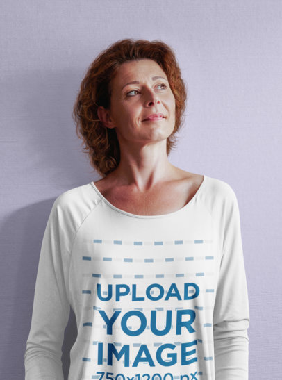 Long-Sleeve Tee Mockup of a Middle-Aged Woman Looking Up 45216-r-el2