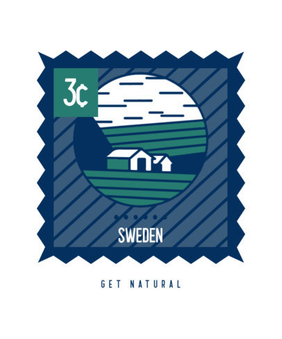 T-Shirt Design Template Featuring a Postage Stamp of Sweden 3327b-el1