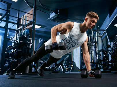 Sleeveless Shirt Mockup of a Muscular Man Training in the Gym 40861-r-el2