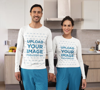 Long-Sleeve Tee Mockup Featuring a Young Couple in Their PJs m771