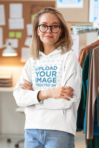 Hoodie Mockup of a Young Woman at a Fashion Workshop 45668-r-el2