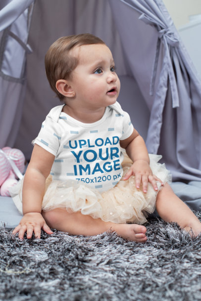 Sublimated Onesie Mockup of a Baby Girl With a Tutu m928