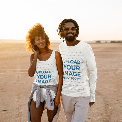 Mockup of an Adventurous Couple Wearing a Tank Top and a Long Sleeve Tee 45661-r-el2