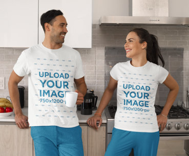 T-Shirt Mockup of a Man and Woman Having Coffee in the Kitchen m766