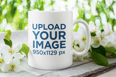 Mockup of an 11 oz Coffee Mug with Pretty Flowers 45398-r-el2