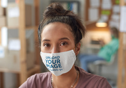 Face Mask Mockup Featuring a Serious Young Woman With a Hair Bun 45514-r-el2