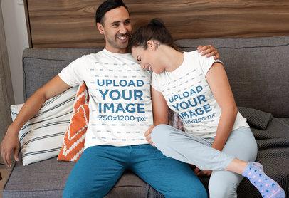 T-Shirt Mockup of a Funny Couple Wearing Pajamas at Home m765