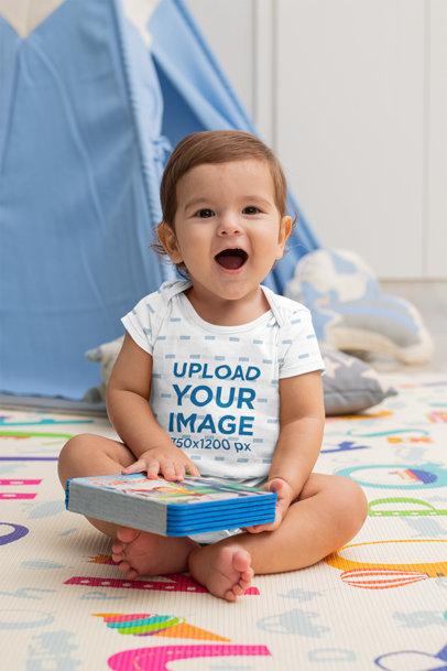 Onesie Mockup Featuring a Cute Little Baby Boy m994