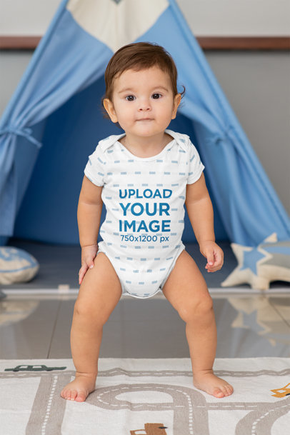 Sublimated Onesie Mockup Featuring a Baby Boy Standing m990