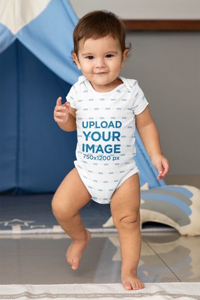 Sublimated Mockup of a Baby Boy Walking m991