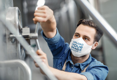 Face Mask Mockup of a Man Working in an Industrial Setting 46207-r-el2