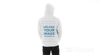 Back-View Video of a Man Pointing at His New Pullover Hoodie 44640v