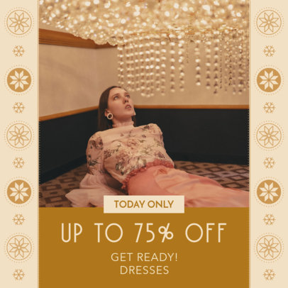 Instagram Post Creator for a Season Sale with Winter Graphic Patterns 3283c