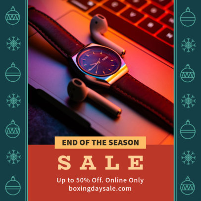 Instagram Post Template for an End-of-Season Sale with Christmas Sphere Graphics 3283k