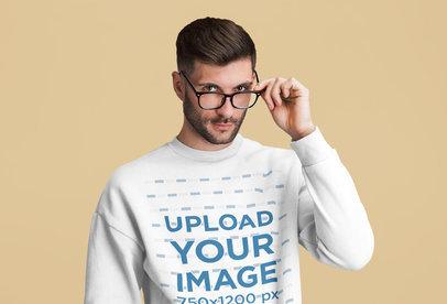 Sweatshirt Mockup of a Bearded Man Adjusting His Glasses 46189-r-el2
