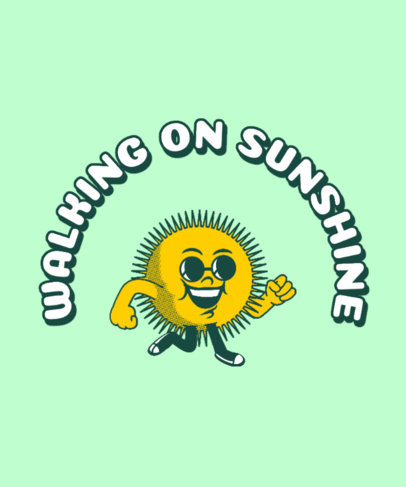 Retro T-Shirt Design Maker Featuring a Cool Walking Sunshine 3287e