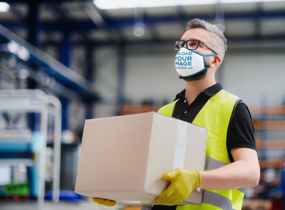 Face Mask Mockup Featuring a Warehouse Worker 46000-r-el2