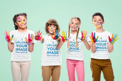 T-Shirt Mockup of a Group of Four Kids Playing with Paint 45978-r-el2