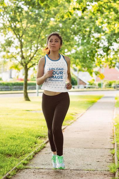 Ringer Tank Top Mockup Featuring a Woman Jogging 40767-r-el2