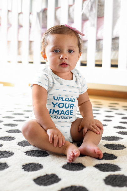 Sublimated Onesie Mockup of a Baby Girl Sitting on a Carpet m920