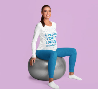 Studio Mockup of a Pregnant Woman Wearing a Long Sleeve Tee 46071-r-el2