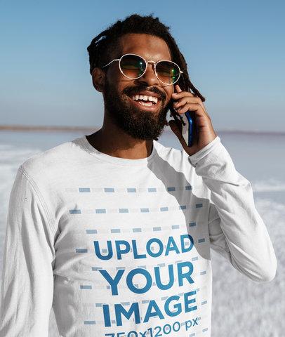 Long Sleeve Tee Mockup of a Man in a Salt Flat 45560-r-el2