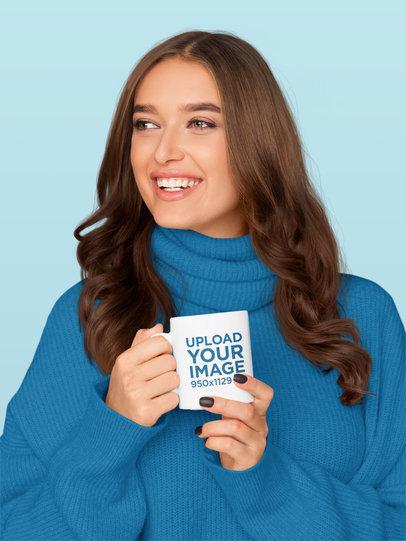 11 oz Coffee Mug Mockup Featuring a Happy Woman in a Studio 46358-r-el2