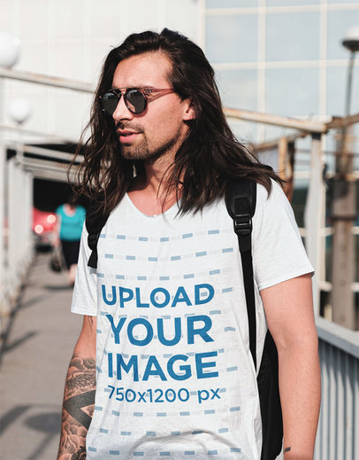 V-Neck Tee Mockup Featuring a Man with Long Hair 43158-r-el2