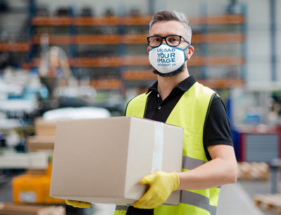 Face Mask Mockup of a Warehouse Worker Carrying a Box 46034-r-el2