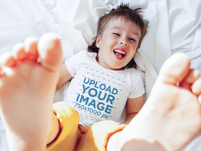 T-Shirt Mockup Featuring a Kid Having Fun 46272-r-el2