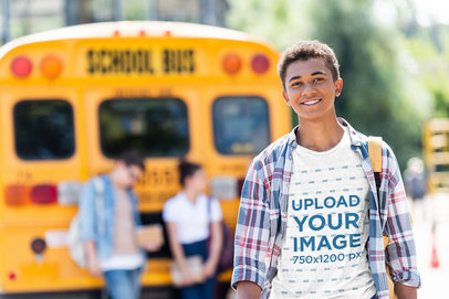 T-Shirt Featuring a Teenage Boy and a High-School Bus in the Background 45986-r-el2