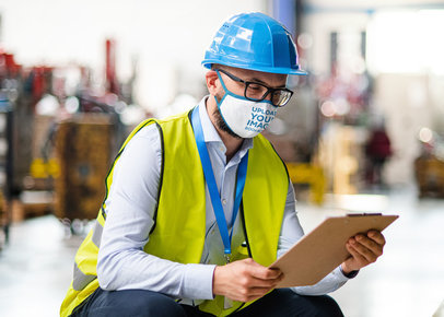 Face Mask Mockup of a Man with a Security Helmet at Work 46039-r-el2
