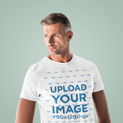 T-Shirt Mockup Featuring a Cool Man with Grey Hair 46023-r-el2
